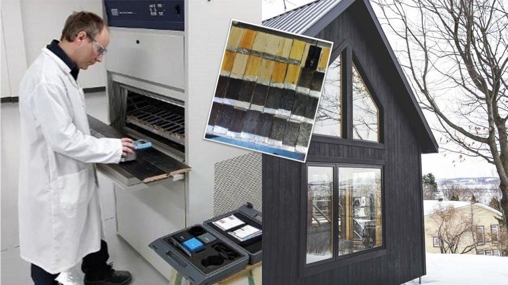 Le matériau bois brûlé est un produit écologique et novateur pour le revêtement extérieur qui a été développé et testé par le SEREX, le centre collégial de transfert de technologie orienté vers la transformation des produits forestiers, en collaboration avec l'entreprise Espace-Bois (crédit photo : SEREX-Synchronex et Espace-Bois.ca).