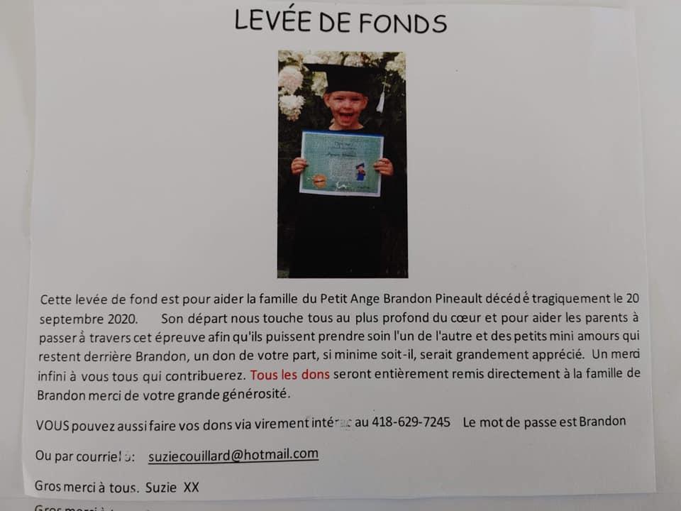 Une campagne de financement est lancée pour la famille du petit Brandon